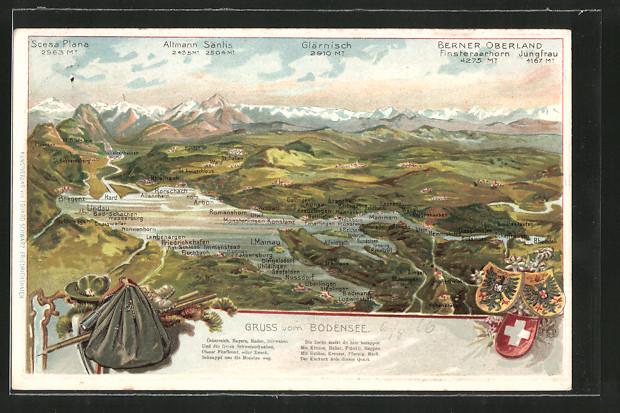 Präge-AK Bodensee-Landkarte, Umgebungsansicht mit Ortschaften rund um den Bodensee, Gebirgspanorama, Wappen