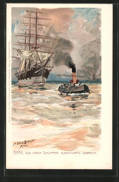 Künstler-Lithographie Zeno Diemer: Bark, von einem Schlepper Elbaufwärts gebracht, Segelschiff