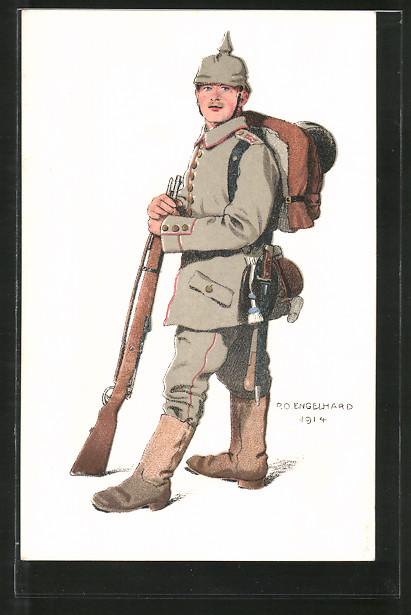 Künstler-AK P.O.Engelhard (P.O.E.): Infanterist in Feldgrau mit Marschgepäck und Pickelhaube