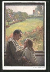 Künstler-AK Ludwig Fahrenkrog: Die Seele deines Kindes, Vater schaut seiner Tochter in die Augen