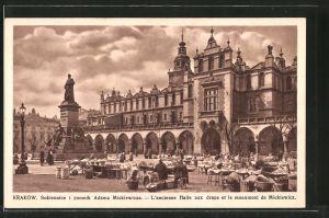 AK Krakau-Krakow, Sukiennice i pomnik Adama Mickiewicza