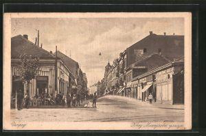 AK Belgrade, la Rue du Prince Michel, Cafe an einer Kreuzung