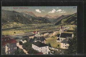 AK Selztal, Teilansicht mit Bahnhof und Hotel Krone