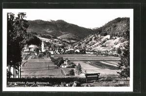 AK Passail, Ortsansicht mit Kirche und Blick auf Berge