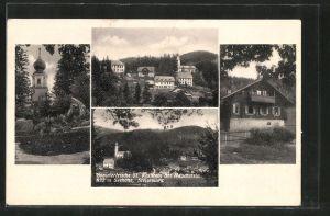 AK St. Kathrein am Hauenstein, Kirche, Ortspartie, Haus, Teilansicht