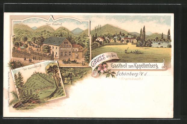 Lithographie Schönberg, Gasthof zum Kapellenberg, Blick zum Kapellenberg, Ortsansicht