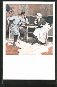 Künstler-AK Brynolf Wennerberg: Krankenschwester spielt mit einem verwundeten Soldaten Schach