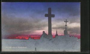 AK Abendfrieden im Feindesland, Silhouette eines Friedhofs