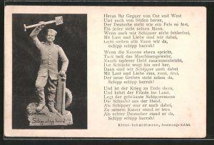 AK Schipp, schipp, hurra!, Figur eines Armierungssoldaten, patriotischer Text
