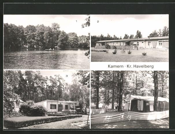 AK Kamern, Betriebsferienheim d. VEB Minol Magdeburg, Bungalows, Zeltplatz