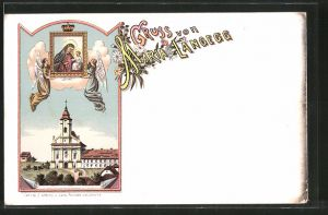 Lithographie Maria Langegg, Wallfahrtskirche, Gnadenbild
