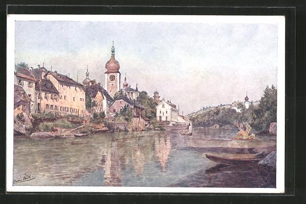 Künstler-AK Brüder Kohn (B.K.W.I) Nr.3041-3: Erwin Pendl, Ortsansicht, Ruderboot