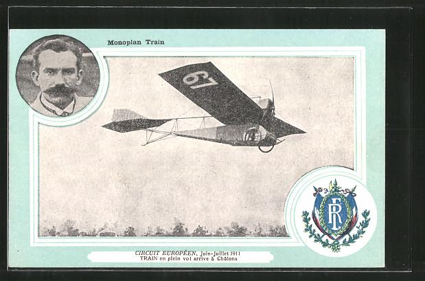 AK Chalons, Monoplan Train, Circuit Europeen 1911, Flugzeug-Pionier Train mit Flugzeug Nr. 69