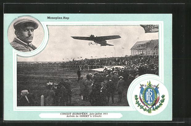 AK Utrecht, Monoplan Rep, Circuit Europeen 1911, Flugzeug-Pionier Gibert mit Flugzeug bei Landung