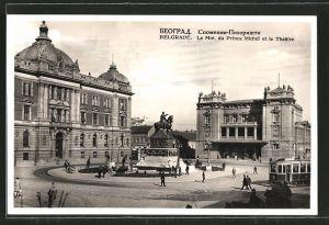 AK Belgrade, le monument du Prince Michel et le théâtre, tramway