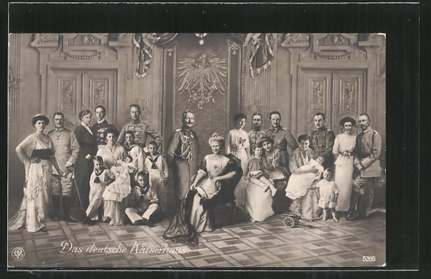 AK der deutsche Kaiser Wilhelm II. von Hohenzollern und das deutsche Kaiserhaus