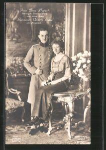 AK Prinz Ernst August Herzog von Braunschweig und seine Braut Prinzessin Viktoria Luise von Preussen