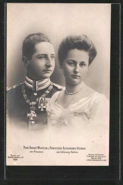 AK Prinz August Wilhelm von Preussen und Prinzessin Alexandra Victoria von Schleswig-Holstein