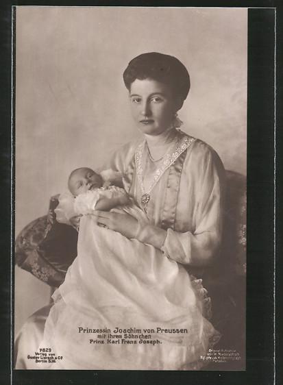 AK Prinzessin Joachim von Preussen mit ihrem Söhnchen Prinz Karl Franz Joseph