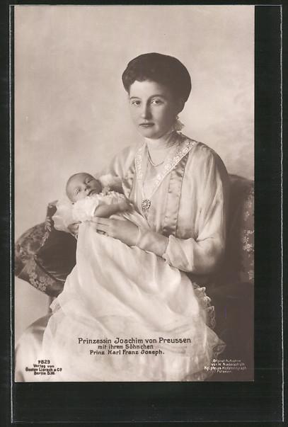 AK Prinzessin Joachim von Preussen mit ihrem Söhnchen, Prinz Karl Franz Joseph