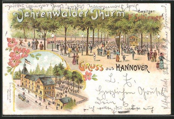 Lithographie Hannover, Gasthaus Vahrenwalder Turm v. F. Schirmer mit Gartenlokal, Strassenbahn