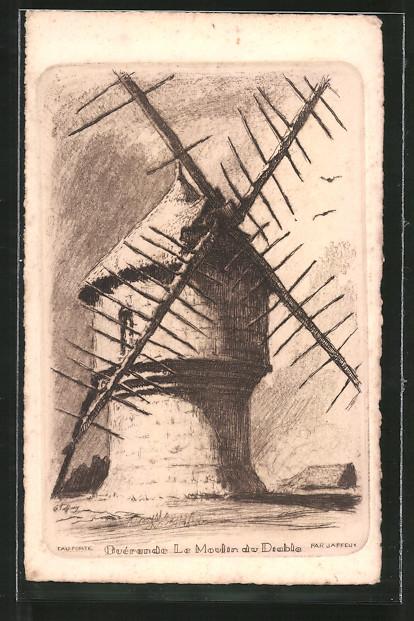 Künstler-AK Guérande, Le Moulin du Diable, Teufelswindmühle