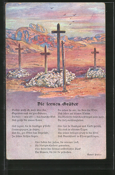 Künstler-AK Kolonialkriegerdank, Deutsche Soldatengräber in Südwestafrika