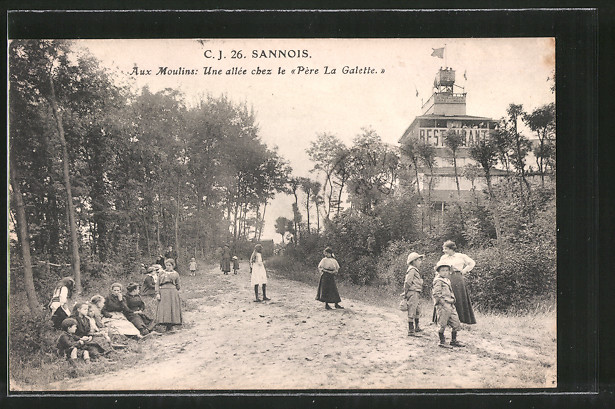 AK Sannois, Aux Moulins: Une allée chez le Pére La Galette