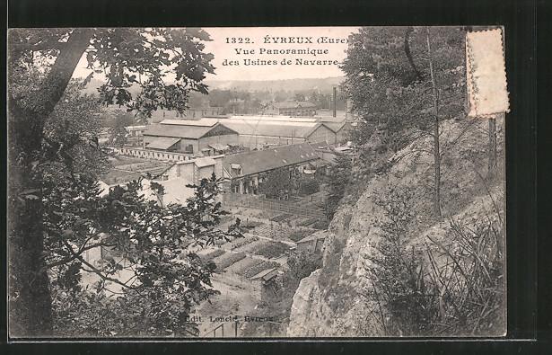AK Évreux, Vue Panoramique des Usines de Navarre