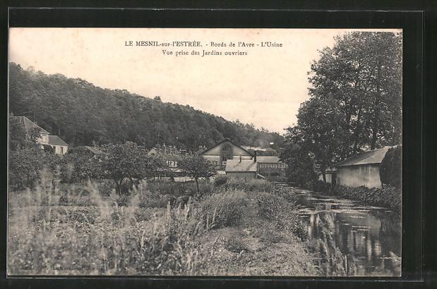 AK Le Mesnil-sur-l'Estrée, Bords de l'Avre, L'Usine, vue prise des jardins ouvriers