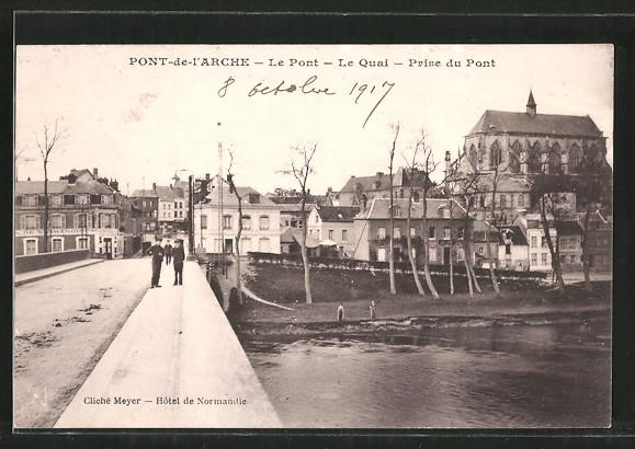 AK Pont-de-l'Arche, Le Pont, le Quai, Prise du Pont