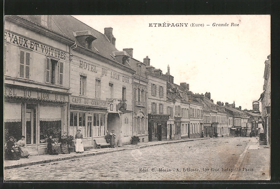 AK Étrépagny, Grande Rue, Hotel du Lion d'Or, Cafe du Commerce