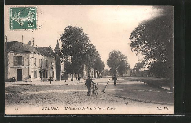 AK Etampes, L'Avenue de Paris et le Jeu de Paume