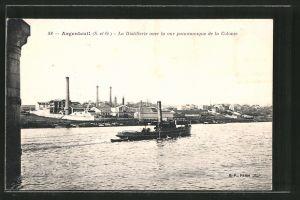 AK Argenteuil, La Distillerie avec la vue panoramique de la Colonie, Dampfer