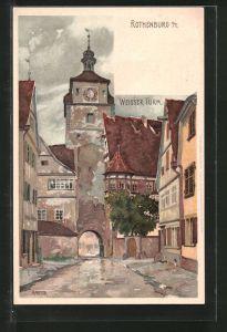 Künstler-Lithographie Karl Mutter: Rothenburg, Blick zum Weissen Turm
