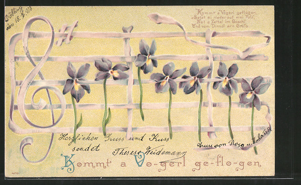 Präge-Lithographie Kommt a Vogerl geflogen, Noten aus Veilchen, Blumenbild
