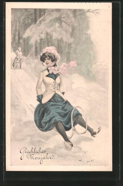 AK Glückliches Neujahr, hübsche Dame rodelt auf einem Schlitten