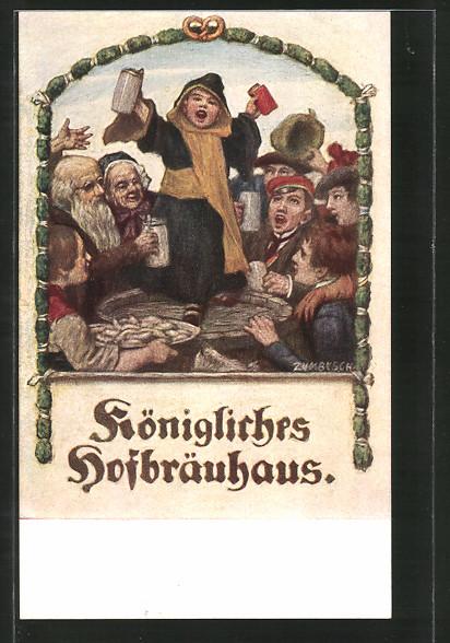 Künstler-AK Ludwig von Zumbusch: München, Kgl. Hofbräuhaus, Münchner Kindl feiert mit den Gästen
