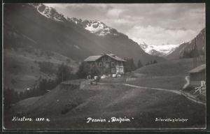 AK Klosters, Pension Daheim, Blick zum Silvrettagletscher