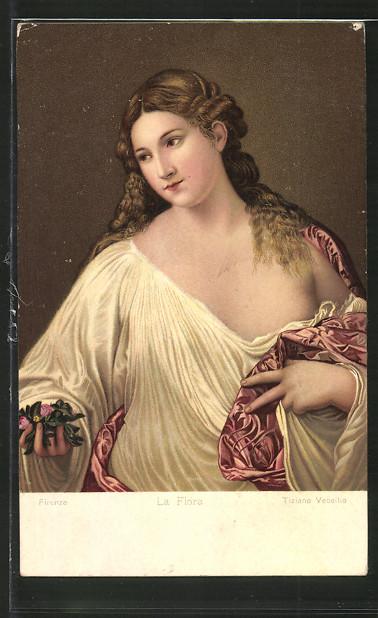 c5299089fd7052 Künstler-AK Frau im Nachtgewand mit halb entblösster Brust Nr ...