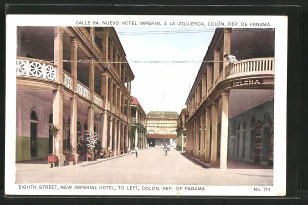 AK Colon, Eigth Street with New Imperial Hotel, Calle 8a, Nuevo Hotel Imperial a la Izquierda