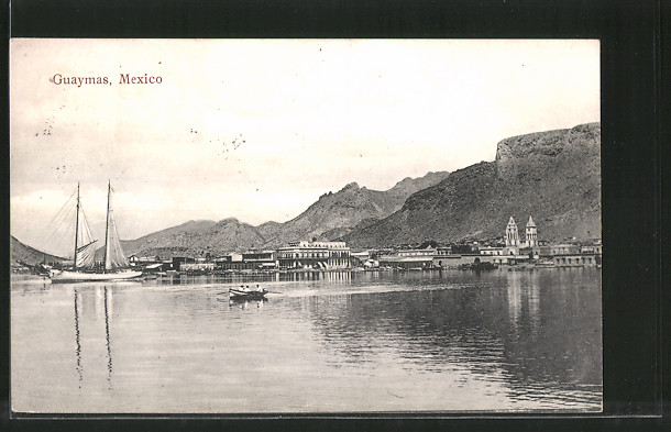 AK Guaymas, Blick zum Ort, Segelboot, Ruderboot