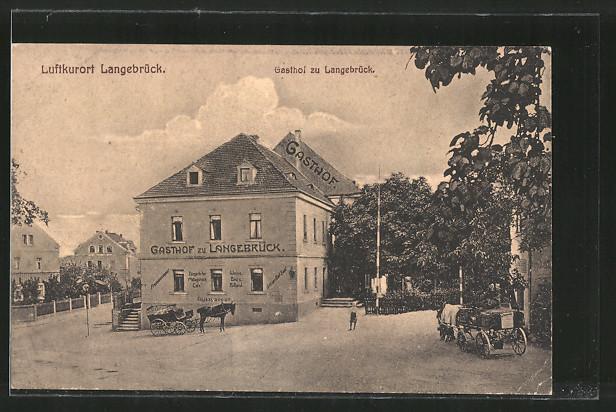 AK Langebrück, Gasthof zu Langebrück, Kutschen