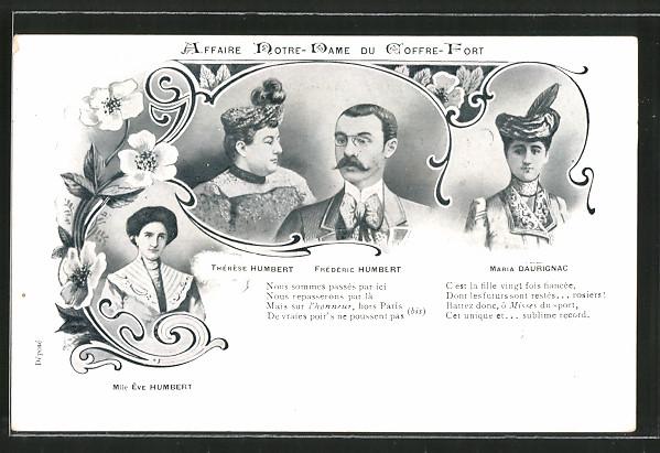 AK Affaire Humbert, Frédéric, Thérése und Ève Humbert sowie Maria Daurignac, Jura