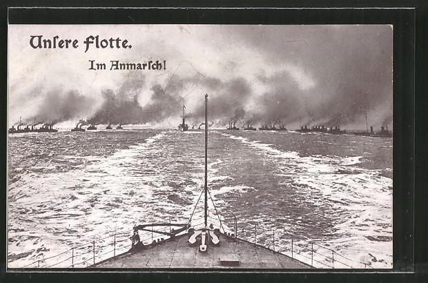 AK Unsere Flotte, Im Anmarsch!, Kriegsschiffe