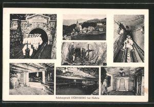 AK Dürnberg, Salzbergwerk bei Hallein, verschiedene Motive