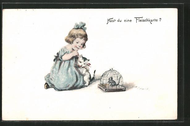 Künstler-AK Elly Frank: Hast du eine Fleischkarte?, Mädchen mit Katze und gefangene Maus