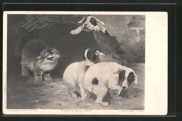 Künstler-AK Wütende Katze und ängstliche Terrierwelpen