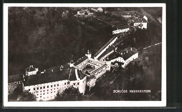 AK Stubenberg, Fliegeraufnahme des Schloss Herberstein