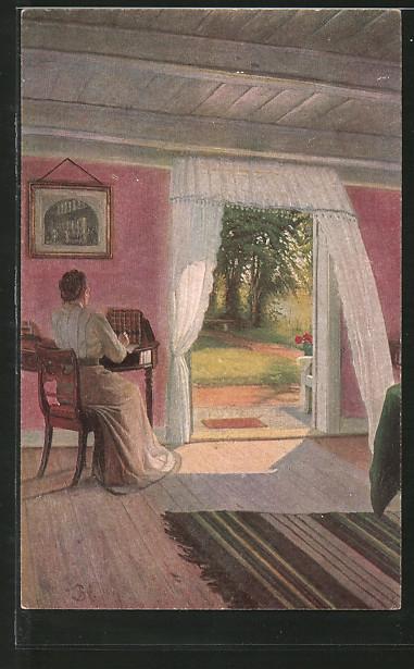 Künstler-AK sign. Sigvard Hansen: In der Sommerfrische, Dame in Zimmer mit offener Gartentür